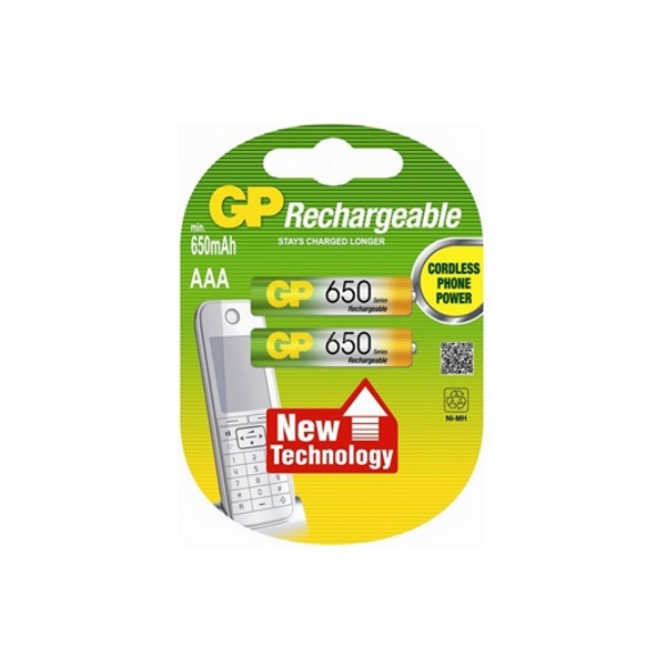 GP Dect oplaadbare batterijen NH03 (AAA) 650 mAh - 2 stuks